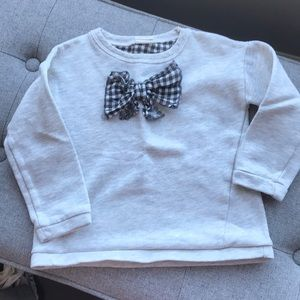 "Zara ""gingham"" bow sweatshirt"
